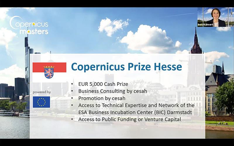 Ines Kühnert - Präsentation zu den Copernicus Masters und Galileo Masters  während der GNMG 2021 (©AZO)