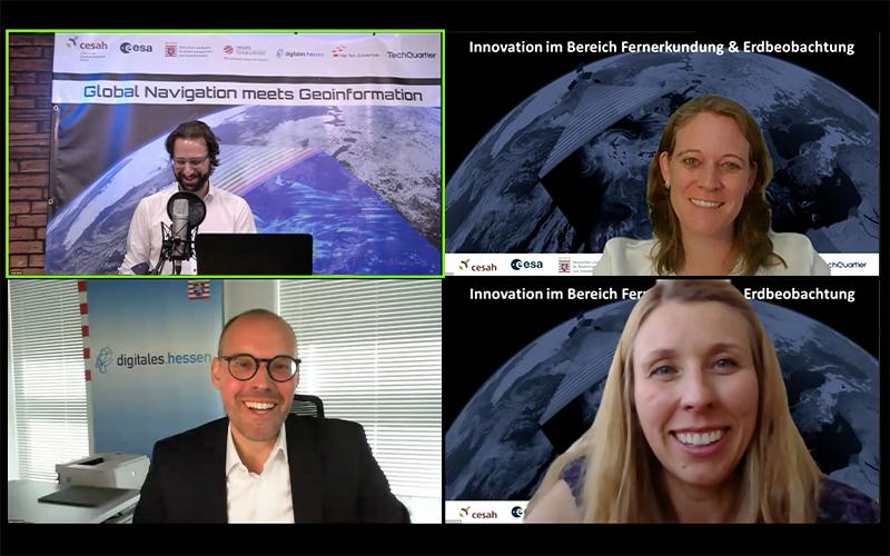 Screenshot der zweiten Paneldiskussion. Erste Reihe: Sascha Heising, Dr. Eva Klien; Zweite Reihe: Dr. Walter Fischedick, Prof. Dr.-Ing. Dorota Iwaszczuk (© cesah)